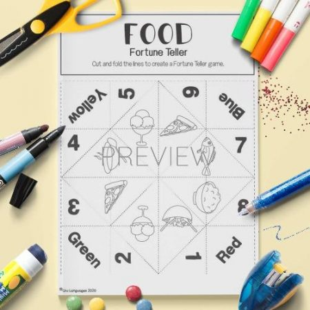 ESL English Food Fortune Teller Craft Game Activity Worksheet