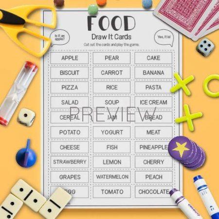 ESL English Food Draw It Card Game Activity Worksheet