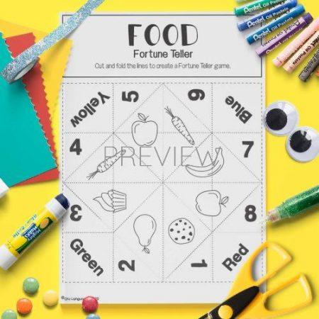 ESL English Food Fortune Teller Game Craft Activity Worksheet