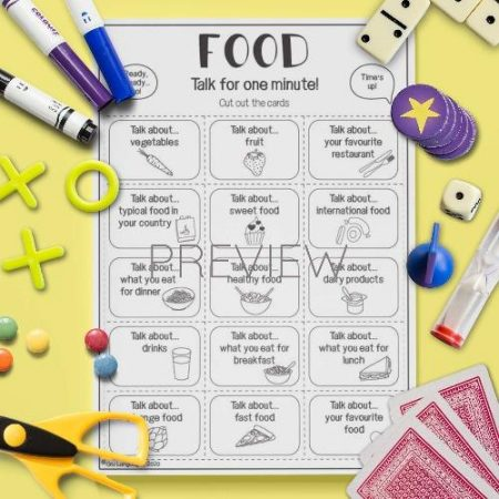 ESL English Food Talk For A Minute Game Activity Worksheet