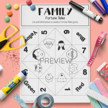 ESL English Family Fortune Teller Craft Game Activity Worksheet