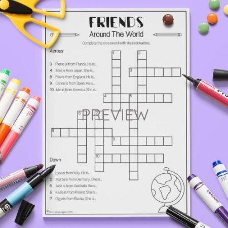 ESL English Nationalities Crossword Activity Worksheet