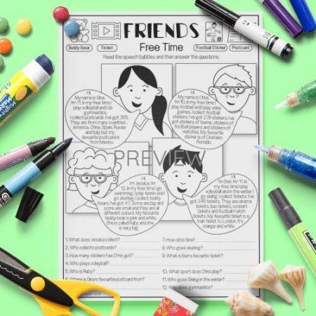 ESL English Friends Free Time Reading Activity Worksheet