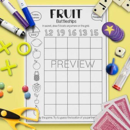 ESL English Fruit Battleships Game Activity Worksheet