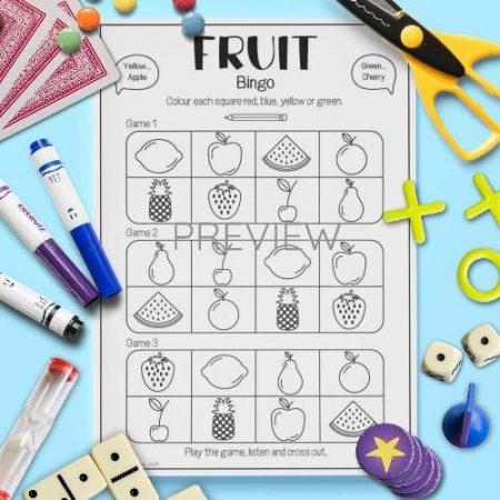 ESL English Fruit Bingo Game Activity Worksheet