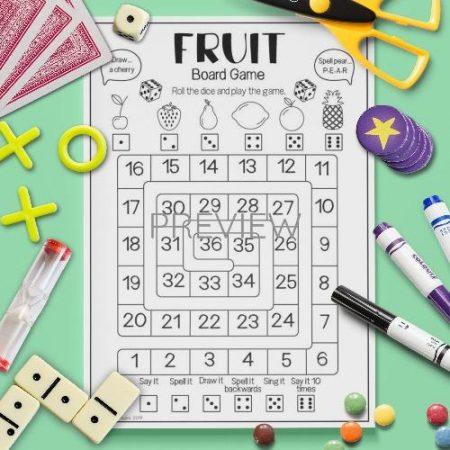 ESL English Fruit Board Game Activity Worksheet