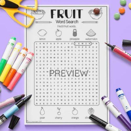 ESL English Fruit Word Search Activity Worksheet