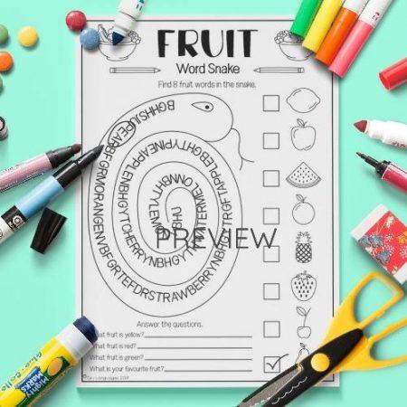 ESL English Fruit Word Snake Activity Worksheet