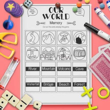 ESL English Our World Memory Game Activity Worksheet