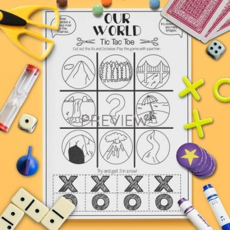 ESL English Our World Tic Tac Toe Game Activity Worksheet