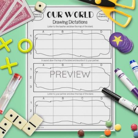 ESL English Our World Drawing Dictation Game Activity Worksheet