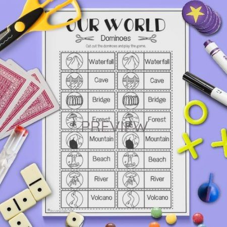 ESL English Our World Dominoes Game Activity Worksheet