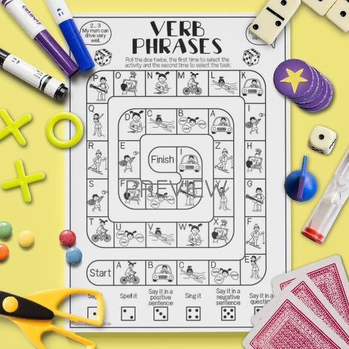 ESL English Verbs Board Game Activity Worksheet
