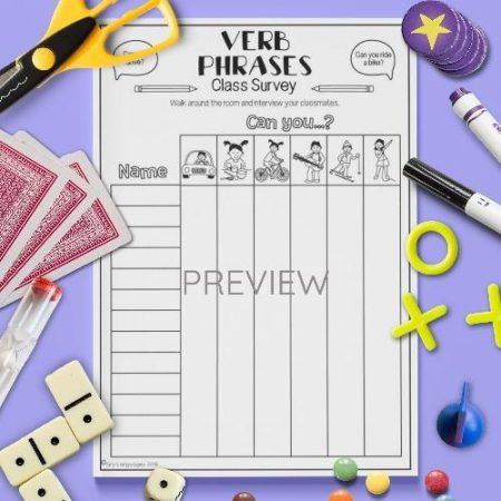 ESL English Verbs Class Survey Activity Worksheet