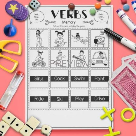 ESL English Verbs Memory Game Activity Worksheet