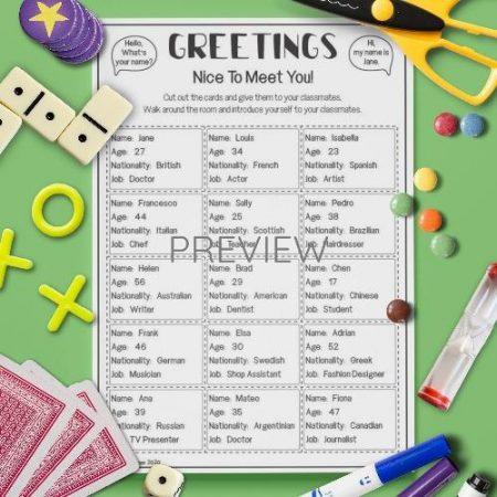 ESL English Greetings Card Game Activity Worksheet