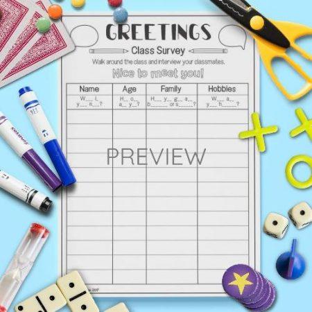ESL English Greetings Class Survey Activity Worksheet