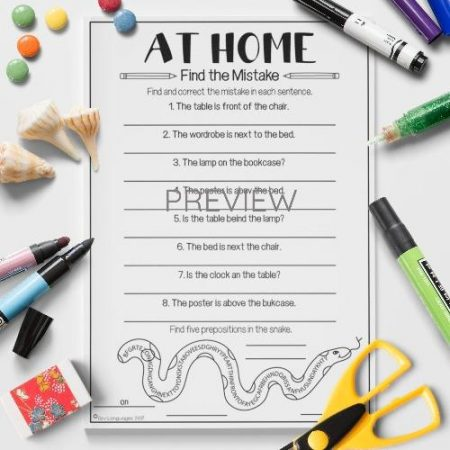 ESL English Home Find The Mistake Activity Worksheet