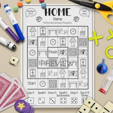 ESL English Home Board Game Activity Worksheet