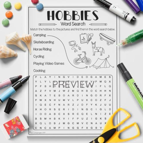 ESL English Hobbies Word Search Activity Worksheet