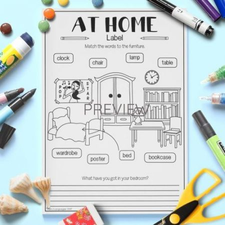 ESL English Home Vocabulary Activity Worksheet