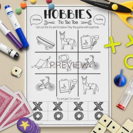 ESL English Hobbies Tic Tac Toe Game Activity Worksheet