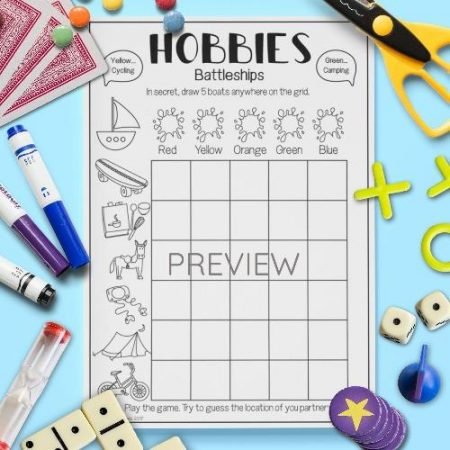 ESL English Hobbies Battleships Game Activity Worksheet