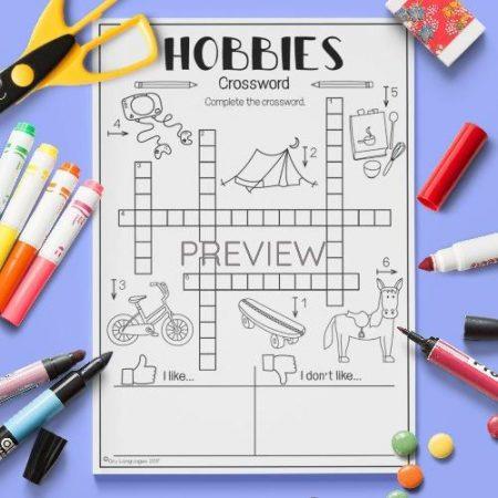 ESL English Hobbies Crossword Activity Worksheet