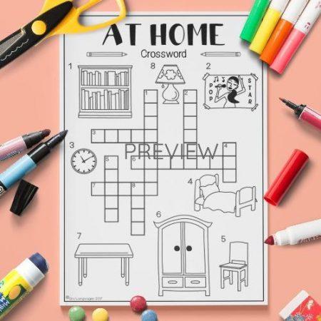 ESL English Home Crossword Activity Worksheet