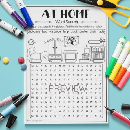 ESL English Home Word Search Activity Worksheet