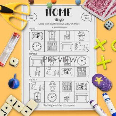 ESL English Home Bingo Game Activity Worksheet