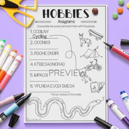 ESL English Hobbies Anagrams Activity Worksheet