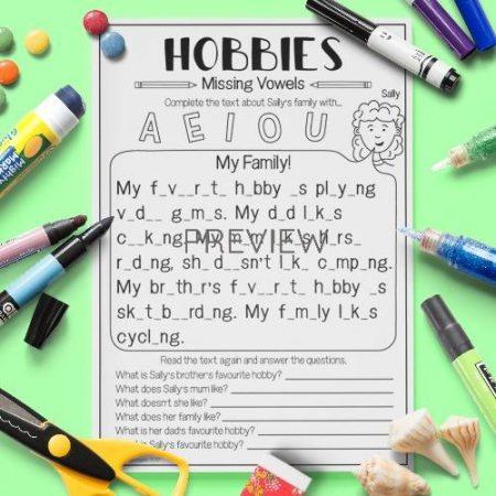 ESL English Hobbies Missing Vowels Activity Worksheet