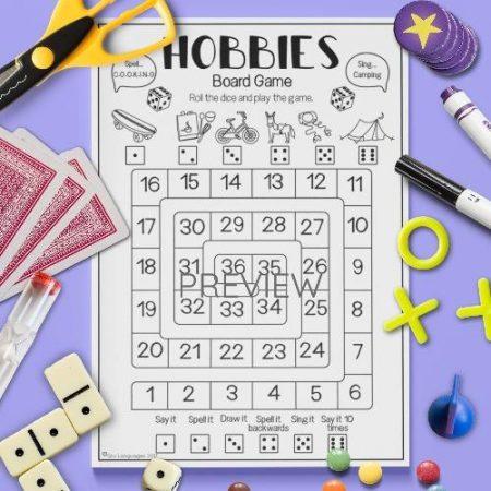 ESL English Hobbies Board Game Activity Worksheet