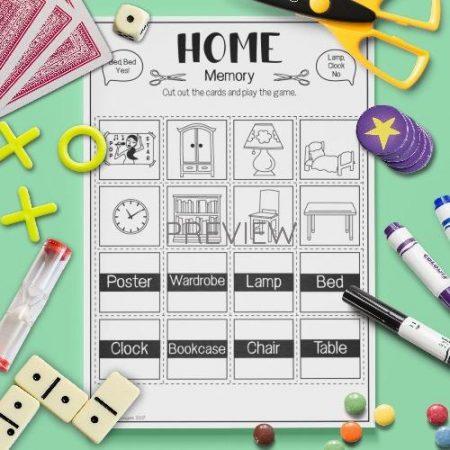 ESL English Home Memory Game Activity Worksheet