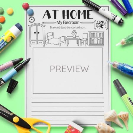 ESL English My Bedroom Draw And Write Activity Worksheet