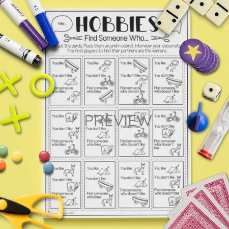 ESL English Hobbies Find Someone Who Game Activity Worksheet
