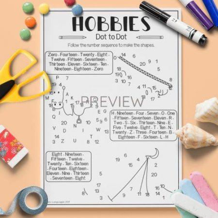 ESL English Hobbies Dot To Dot Activity Worksheet