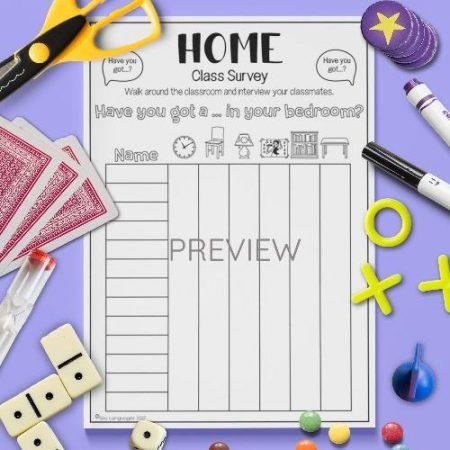 ESL English Home Class Survey Activity Worksheet