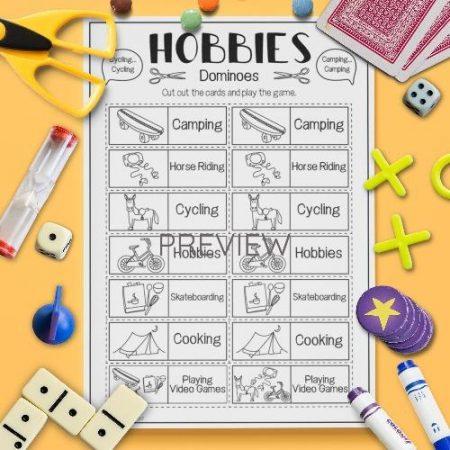 ESL English Hobbies Dominoes Game Activity Worksheet
