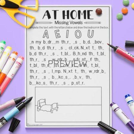 ESL English Home Missing Vowels Activity Worksheet