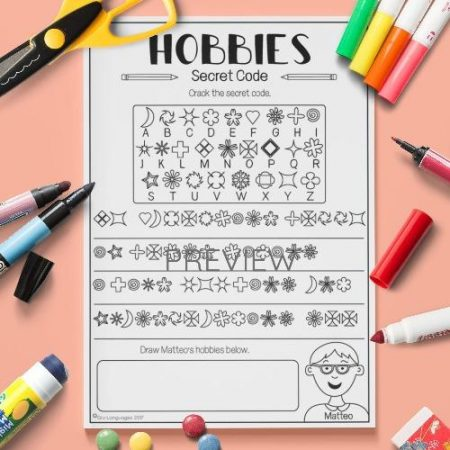 ESL English Hobbies Secret Code Activity Worksheet