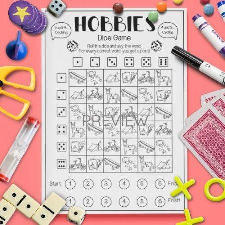 ESL English Hobbies Dice Game Activity Worksheet