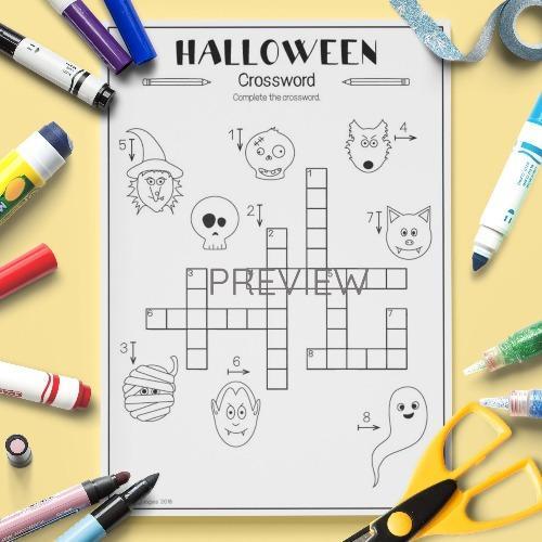 ESL English Halloween Crossword Activity Worksheet