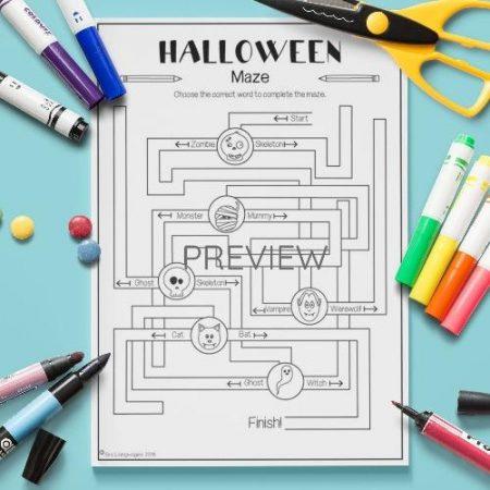 ESL English Halloween Maze Activity Worksheet