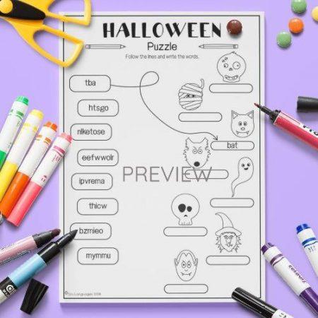 ESL English Halloween Puzzle Activity Worksheet