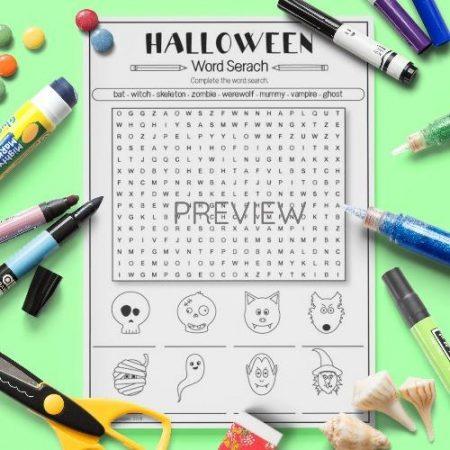 ESL English Halloween Word Search Activity Worksheet