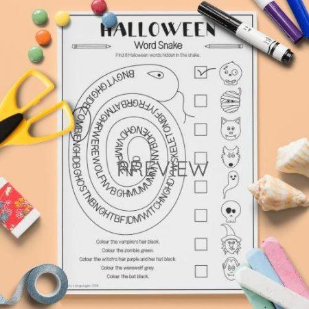 ESL English Halloween Word Snake Activity Worksheet