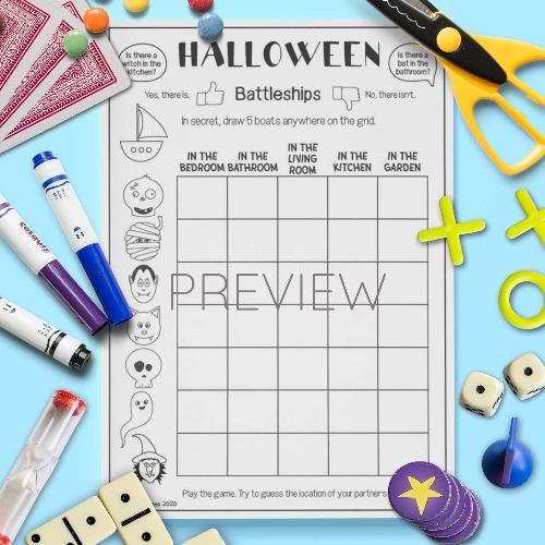 ESL English Halloween Battleships Game Activity Worksheet