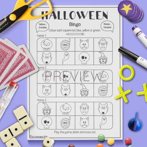 ESL English Halloween Bingo Game Activity Worksheet